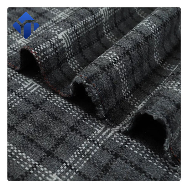 Factory supply  plaid  flannel wool polyester fabric for dress
