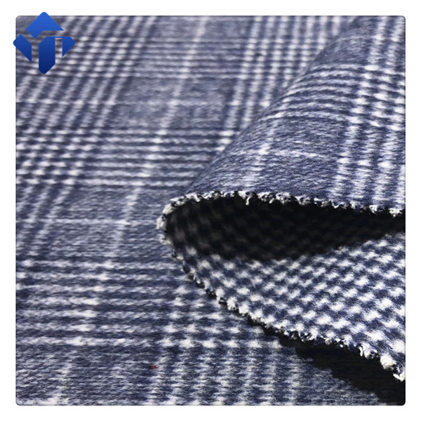 Factory supply In stock check tartan mohair wool woolen coat fabric
