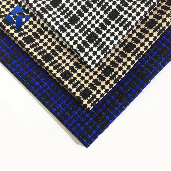Customized multicolor polyester viscose acrylic tweed wool fabric  for plaid dresses