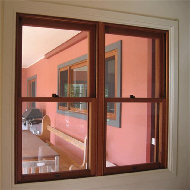 Classic Design Wood Grain Pvc Hung Window Firm Tempered Glass House Interior Simple Design Window Foreign Trade Online