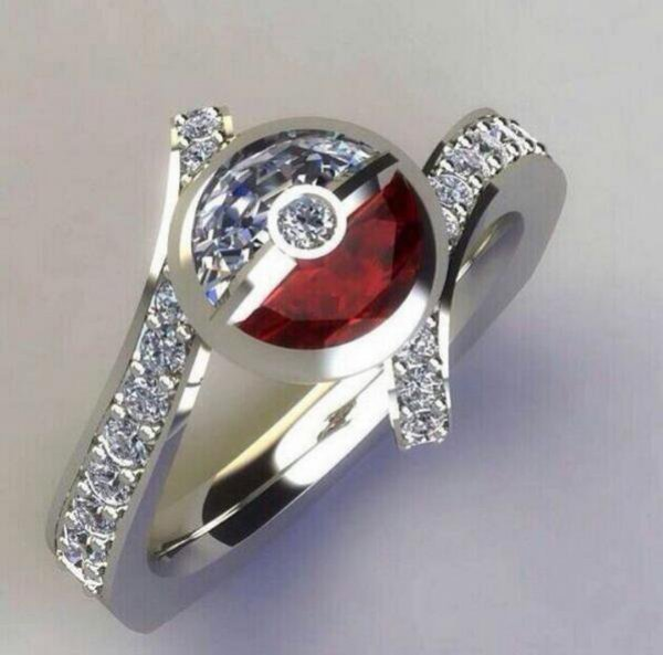 pokemon pokeball 925 sterling silver CZ diamond ring