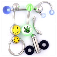 Body Piercing Jewelry; Titanium Body Jewelry, Belly button rings