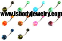 Body Piercing Jewelry, New Marble Ball Curved Barbell