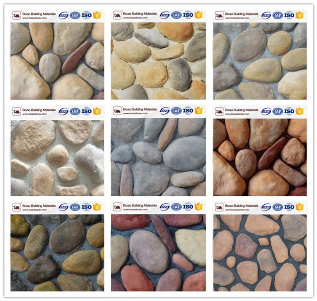 Faux cobble stone wall decoration