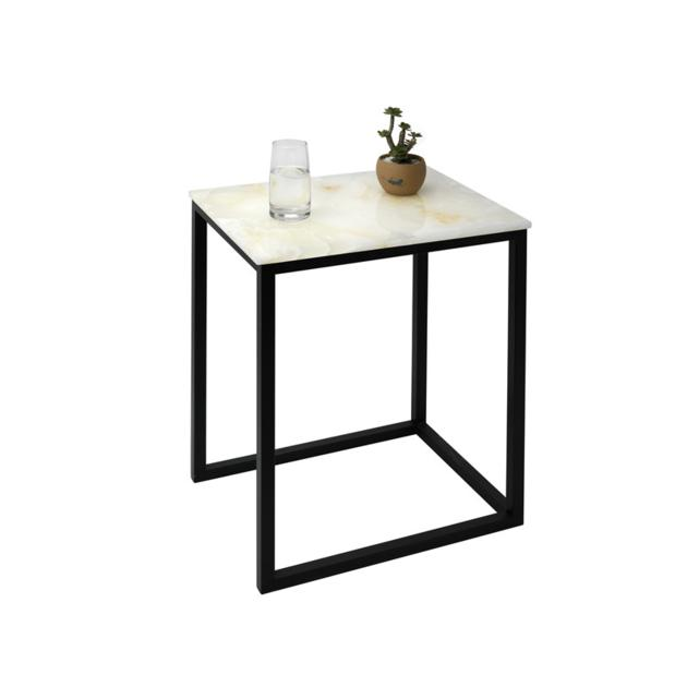 COT030 square white marble table metal frame