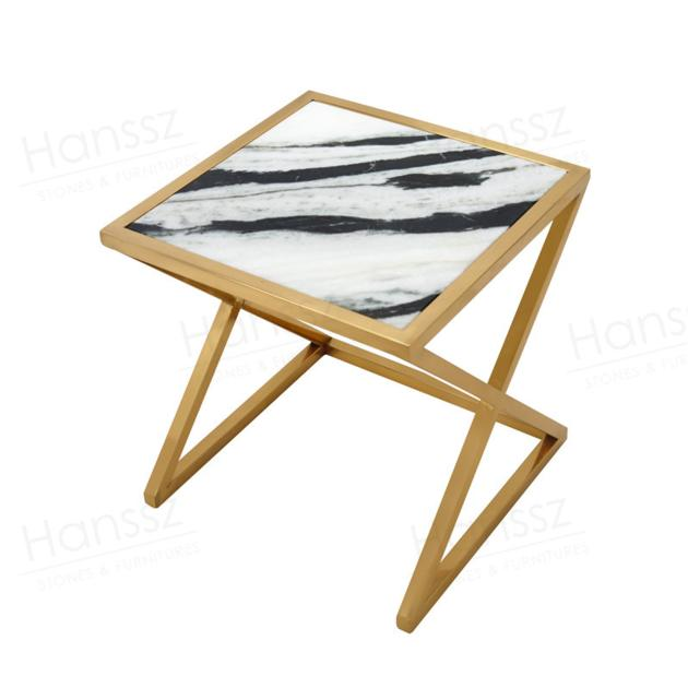 CT002 Lazio custom golden metal faux marble coffee table