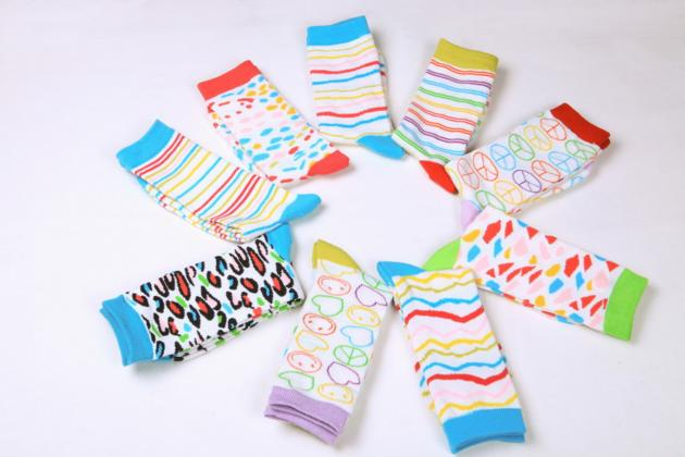 Women's 144N computer jacquard pattern crew length fashion bright color socks