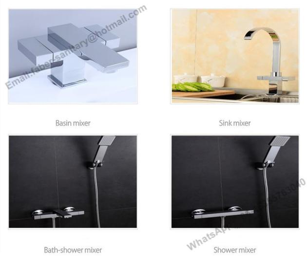 China factory cheap price Double handle square basin faucet and kitchen mixer B&S shower mixer