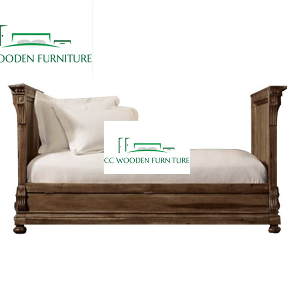 French style natural wood bed wood day bed divan bed daybeds