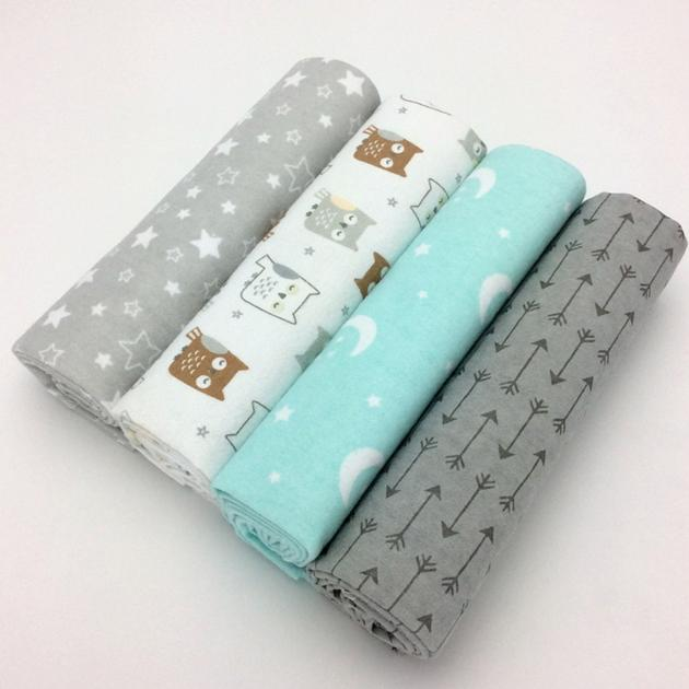 4pcs/lot newborn baby bed sheet newborn crib sheets 100% cotton Flannel printing baby blanket
