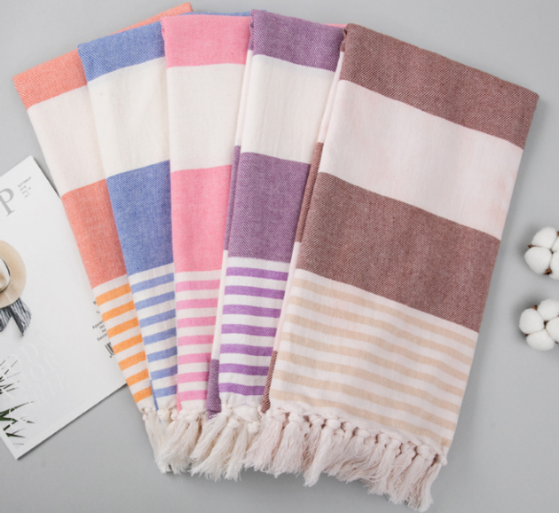 Striped Cotton Turkish Bath Towel With