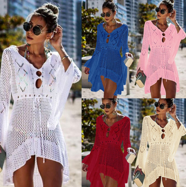2019 Crochet White Knitted Beach Cover up dress Tunic Long Pareos Bikinis Cover ups Swim Cover up Ro