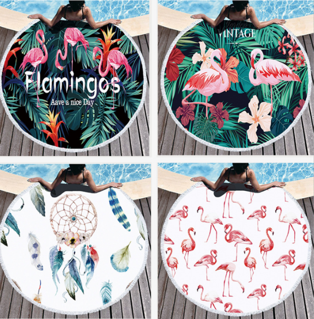 Printed Tropical Leaves Flower Flamingo Round Beach Towel Microfiber Beach Towels Roundie For Adults