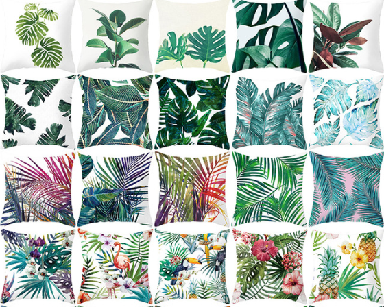 YWZN Tropical Plants Pillow Case Polyester Decorative