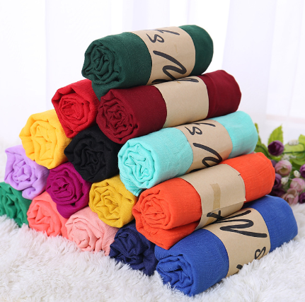 Monochrome Candy Colored Silk New Cotton Linen Scarf Solid Color Female Scarf Women Gift Scarf Beaut
