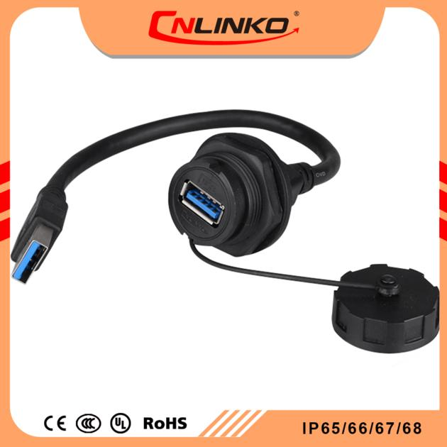 Cnlinko hot selling usb 3.0 panel mount double rubber coating ip67 waterproof connector