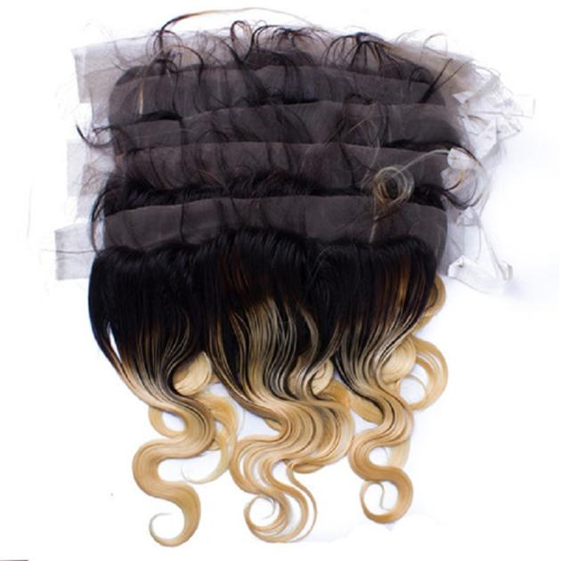 13X4 Size 1BT Blonde Virgin Human Hair Lace Closure And Frontals Natural Body Wave Style With Baby H