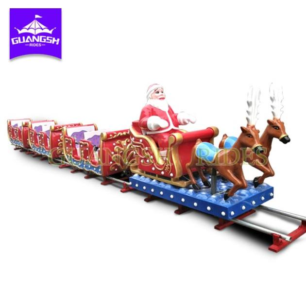 Amusement Kids Ride Outdoor Funfair Monorail Electric Christmas Train With Tracks