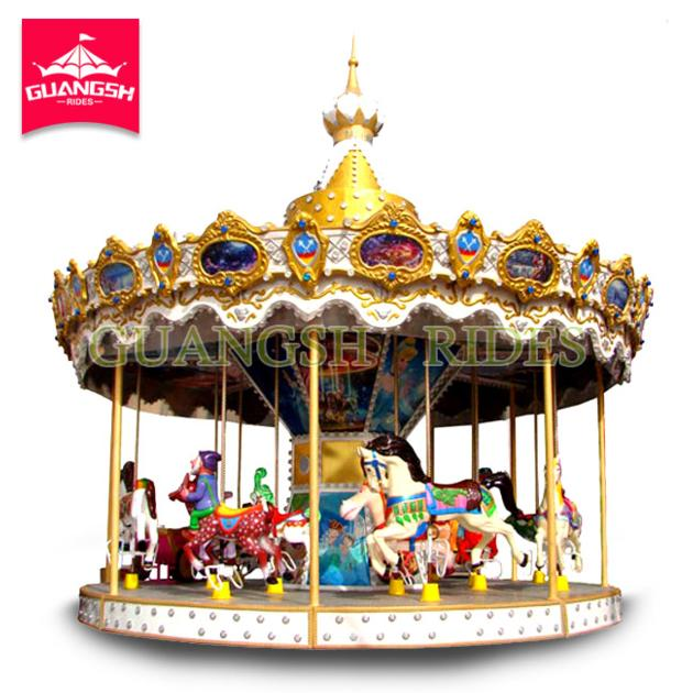 Amusement Park Kids Ride Outdoor Horse Carousel Swing Rotating Crown Carousel for Sale