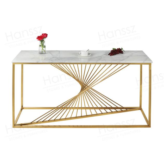 Golden metal frame white marble top coffee table