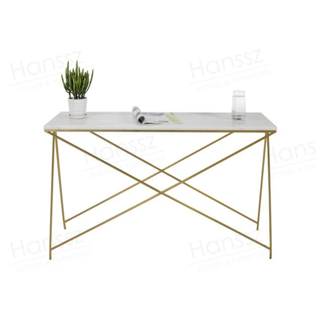 Golden metal frame white marble top rectangular coffee table