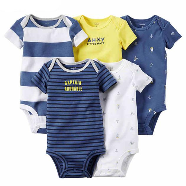 Five-Piece Set Short Sleeved Cottony Baby Romper Garment Infant Clothes Baby Crawling Sui