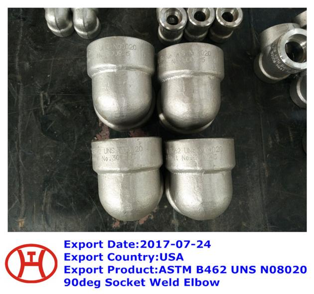 ASTM B462 UNS N08020 90deg Socket Weld Elbow