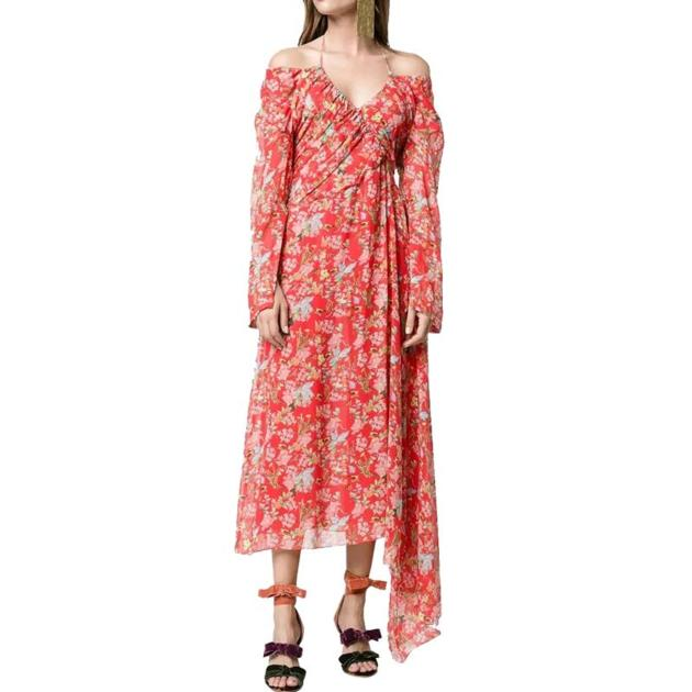 Custom Silk Asymmetrical Hem Floral Print Off-the-Shoulder Maxi Dress