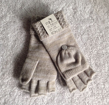 Ladies Polyester Fingerless Mitten Glove with Small Cap and Melange Yarn