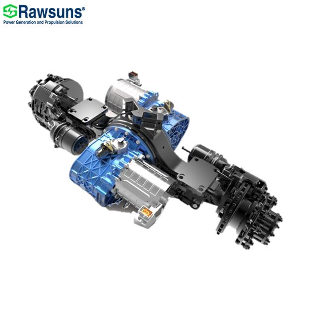 128KW 2*16000Nm dual electric motor central drive axle with transmission ev conversion kit 12 m bus