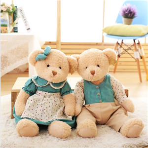 Classic design jointed plush dressed up couple teddy bear toy