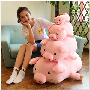 2019 New year custom size adorable wholesale pink plush pigs toys