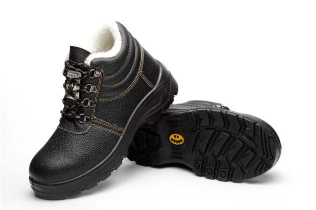 winter black leather cotton high anti-static safety shoes