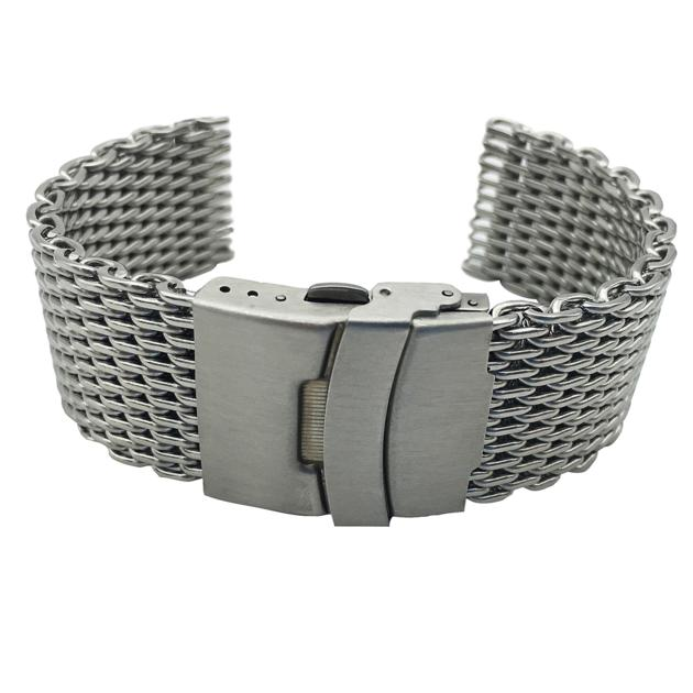 Shark Mesh Watch Band in 304 Stainless Steel Silver