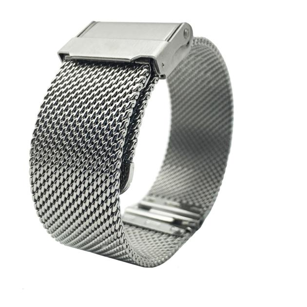Leesting Stainless Steel Milanese 18 20mm Silver Thick Smooth Mesh Watch Band