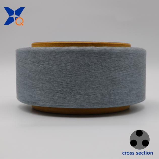 Conductive carbon light grey polyester fiber filaments yarn ESD-XTAA191