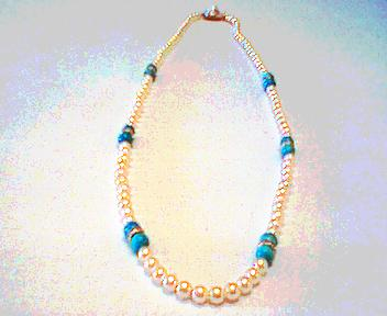 Natural Turquoise and White Pearl Necklace