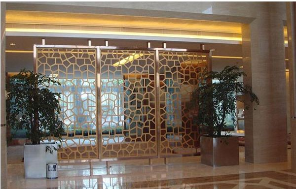 Laser cut stainless steel partition for hotel