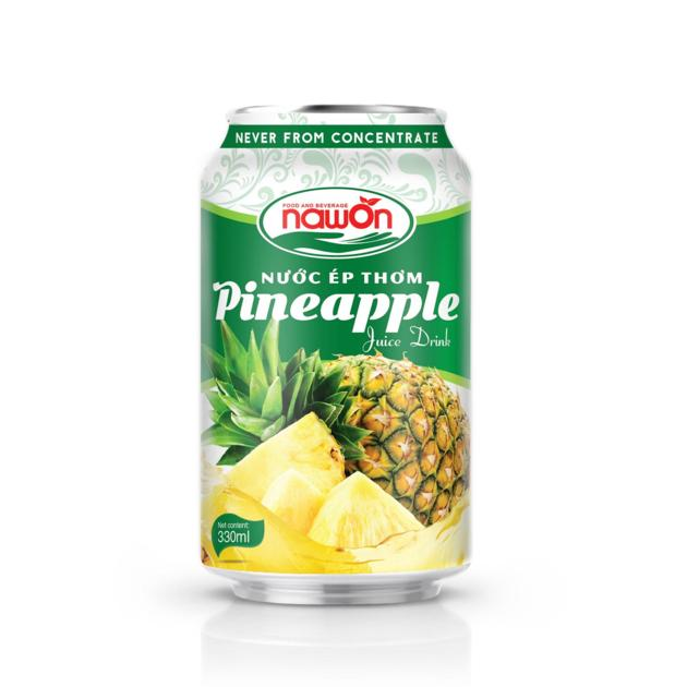 Pineapple Juice canned drink 330ml Nawon fresh real juice from Vietnam