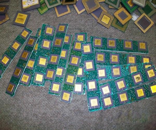 Ceramic cpu scrap for gold recovery, Copper wire & other scrap components.