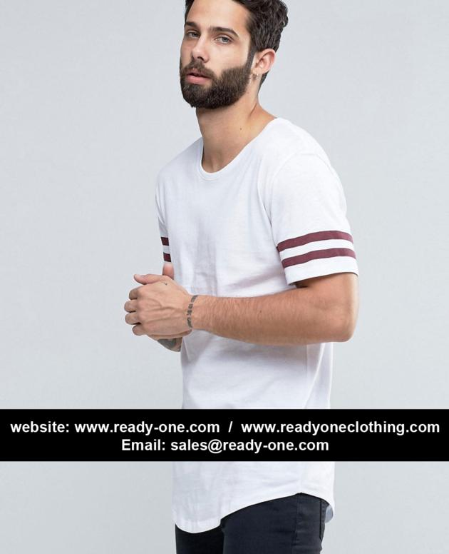 Longline T-shirt with Arm Stripes and Curved Hem