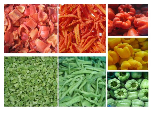 IQF/Frozen whole/half green/red bell pepper strips/diced pepper
