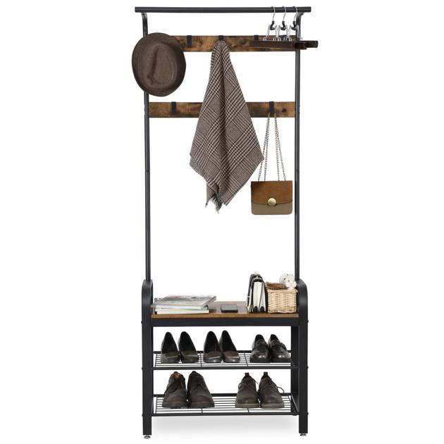 Wooden 3-Tier Shoe Rack Bench Hall Entryway Clothes Hanger Coat Hanging Stand Shelf with Hook