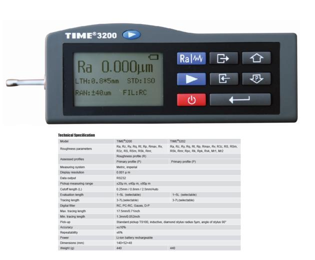 Popular Handheld Surface Roughness Tester TIME¬3200/3202 from Reliable Manufacturer