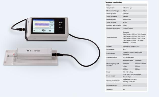 Best-selling Portable Surface Roughness Tester TIME¬3221 Compatible with ISO 1997
