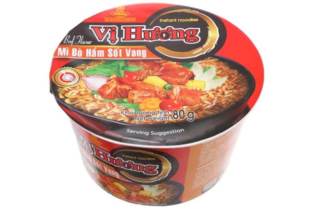 Beef Flavour Instant Noodles in Bowl