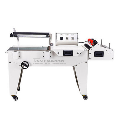 Sealing and cutting machine with heat shrinkable packaging wrapping machine for stationery