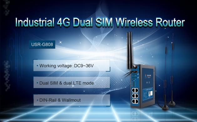 Industrial 4G LTE router with dual sim card, 2 sim card