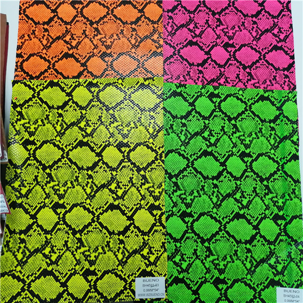 BH4592 Multi-color Embossing Snake Print Synthetic Leather 0.9mm*54""