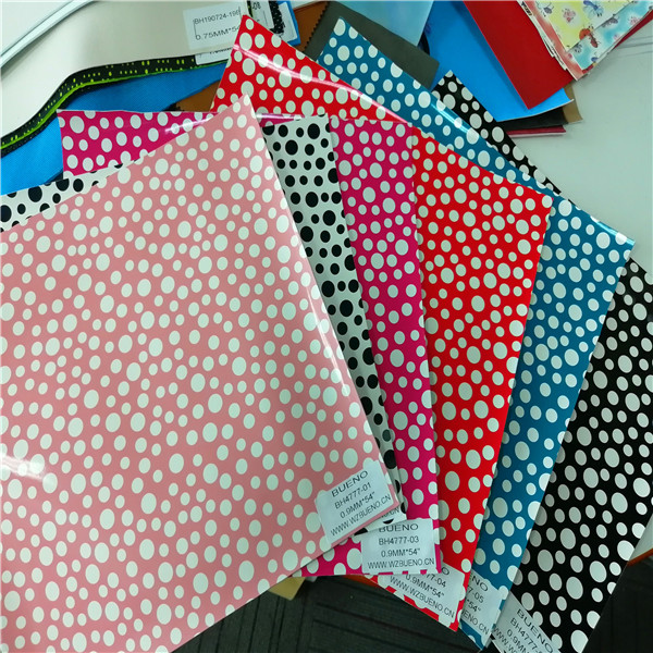 BH4777 Film Synthetic leather with Polka Dot pattern 0.9mm*54""